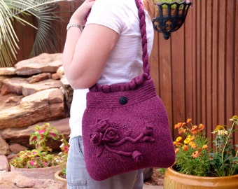 Felted Purse - Burgandy Flowered Bag