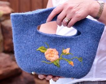 Felted Purse - Denim Blue Flowered Bucket Bag