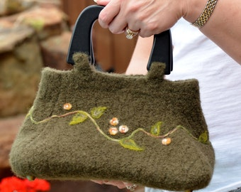 Felted Purse - Olive Flowered Clutch