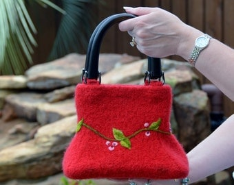 Felted Purse - Red Vine Clutch