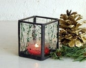 Stained Glass Candle Holder - Tea Light Size - Green and Clear Confetti Glass