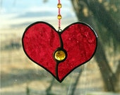 Stained Glass Heart Suncatcher Ruby Red with Gold Gem and Beaded Strand