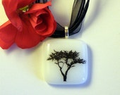 Fused Glass Pendant Necklace, Black Tree Decal on White Glass