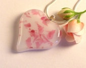 Heart Fused Glass Pendant Necklace Pink Confetti Heart on White Glass Gift for Her