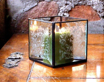Stained Glass Candle Holder Beveled Clear Glass Candle Lantern