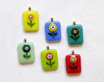 Mix and Match Fused Glass Flower Pendants - Set of 6 - Fun and Funky Fused Glass Flower Necklace