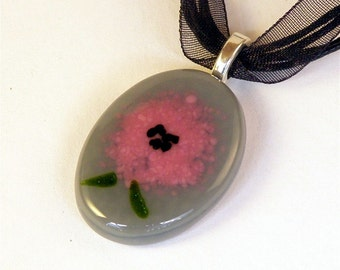 Fused Glass Pendant Necklace Pink Flower on Gray Oval Glass
