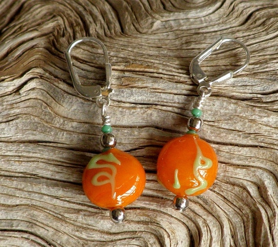 Tangerine Orange Vine Glass Bead Earrings