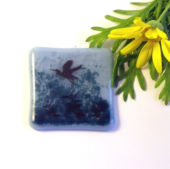Fused Glass Magnet, Heron and Marsh Decal on Smokey Blue Glass