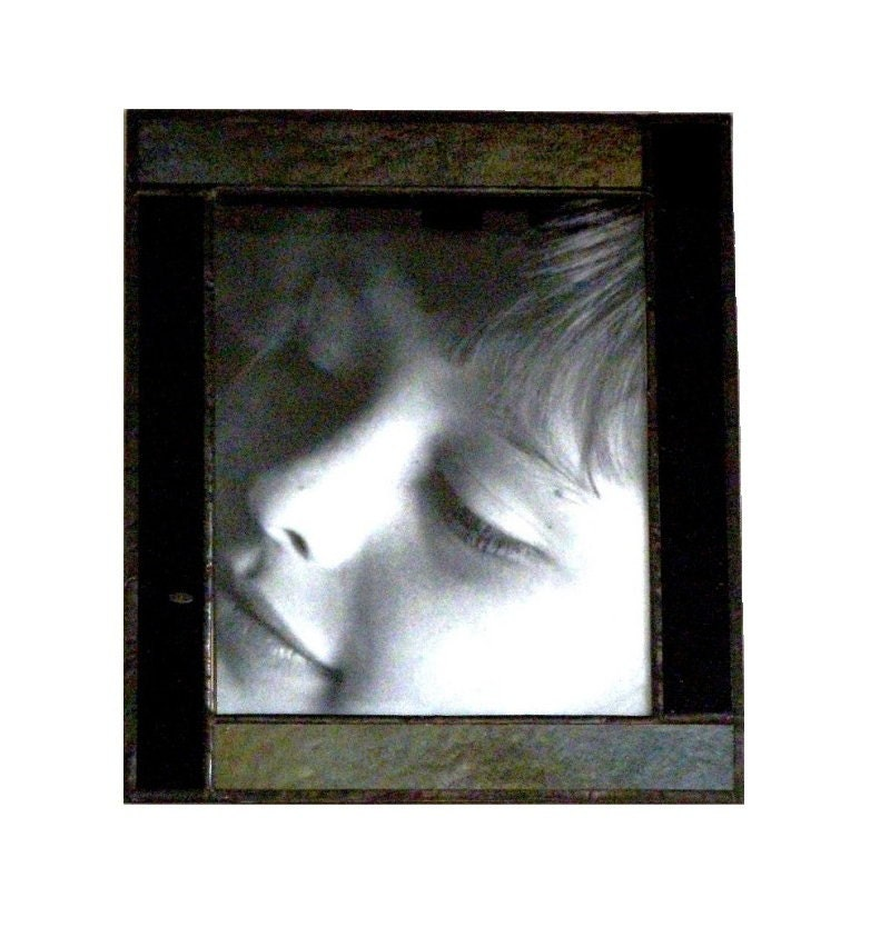 black stained glass picture frame by greenhouseglassworks