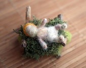 Needle Felted Nativity Set , Waldorf Nativity, Baby Jesus with cradle ONLY, Original design by Borbala Arvai, Made to order