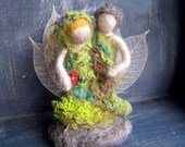 Needle Felted Family, Family Tree, Felted Couple, Forest fairy, Woodland Decor- Original Design by Borbala Arvai, MADE to order