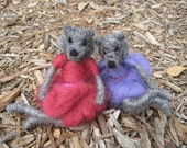 Needle felted animal, Fancy Wolf Girl, coyote, felted toy, purple dress, Waldorf inspired, Original design by Borbala Arvai, Made to order