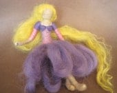 Needle Felted Doll, Rapunzel, Waldorf Doll, Blonde, long hair, Original design by Borbala Arvai, made to order