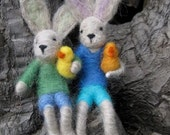 Needle Felted Bunny Boys: 2 bunny boys with little chicks- decoration and toy dolls MADE to order