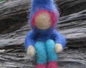 Needle Felted Spring Gnome - Blue