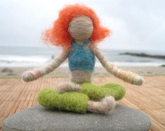 Carla the Needle Felted Yoga Doll (red haired) - Original design by Borbala Arvai, READY TO SHIP