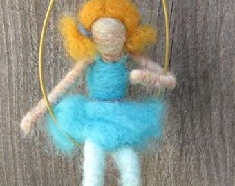 Gizi the Needle Felted Ballerina with Swing, Original design by Borbala Arvai