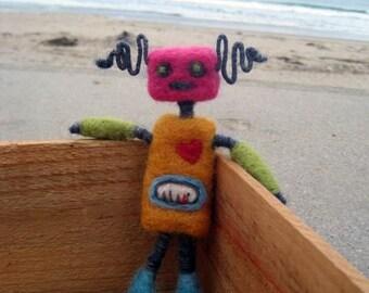 Needle Felted BoriBot Retro Robot Girl, Original design by Borbala Arvai, Made to order