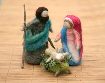 Needle Felted Nativity Set , Waldorf Nativity, Mary and Joseph, Baby Jesus, Original design by Borbala Arvai, Made to order