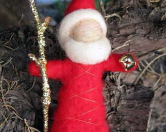 Needle Felted Standing Santa with golden branch and bell