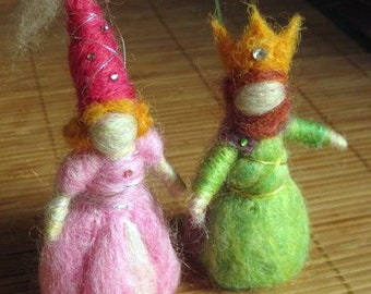 Needle Felted King and Queen, Waldorf Inspired (2 figures)  Original design by Borbala Arvai, made to order