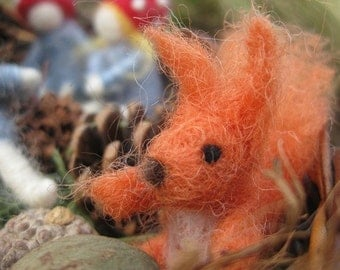READY to ship, Needle felted animal, TWO Squirrels, Children Of the Forest, Elsa Beskow, felted squirrels (ONLY), Waldorf toy