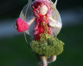 Valentine Wood Fairy with Heart - Needle Felted -  Made to order