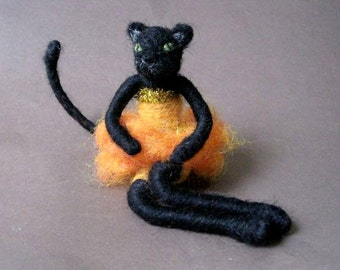 Fancy Bad Cat Girl, Halloween decoration and toy, Original design by Borbala Arvai, READY TO SHIP