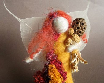SEASONAL FAIRIES  Needle Felted standing Fall Forest Fairy, Original design by Borbala Arvai, Made to order
