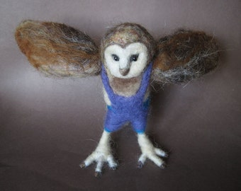 Nedle Felted Animal, Barn Owl, Owl boy, Waldorf toy Original design by Borbala Arvai, made to order