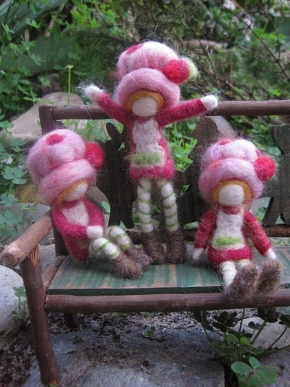 Strawberry Shortcake, Needle Felted Doll, Waldorf Doll, toy, Original design by Borbala Arvai, Made to order