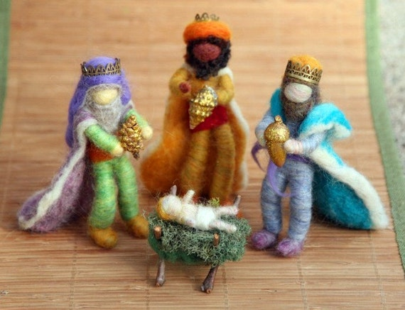 Needle Felted Wise Men, Three Kings, Nativity Set , Waldorf Inspired, Christmas, Nature Table, Design by Borbala Arvai, MADE TO ORDER