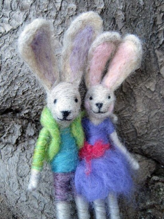 Needle Felted Animal, Felted rabbit, Girl and Boy, Easter basket, Spring Nature Table, Easter decor, Original Design by Borbala Arvai
