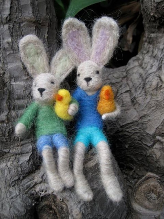 Needle Felted Animal, Bunny Boy and chicken, Spring, Easter, Waldorf Nature Table, Felted Toy (one boy with one chick) MADE to order