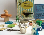 Toy set in a tin, blue fairy with swan and dinosaur, amusement kit for storytelling and imaginative play