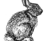 Bunny illustration, rabbit drawing, black and white art, original ink drawing of a sitting cottontail rabbit, springtime, nursery decor