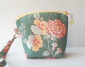 Small purse, wristlet, spring fasion pouch with detachable wrist strap and carabiner clip