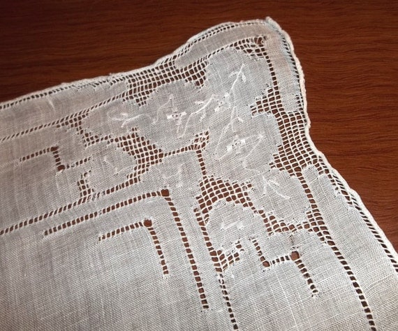 Vintage handkerchief of white linen with geometric cutouts // openwork pulled thread embroidery // summer decor or bridal hankie