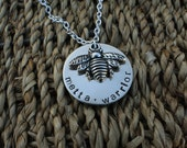 Silver Bee Necklace - Custom personalized hand stamped by Little Missy Kate's on Etsy