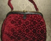 Rare Vintage Jana Handbag/Christmas Red Velvet/1950s/Tapestry Bag Amazingly Awesome Vintage Purse Beautiful Retro Handbag