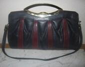 Vintage Blue/Maroon Leather Clutch Shoulderbag Handbag Retro 80s Preppy Chic Super Cute/Love the Color-Style
