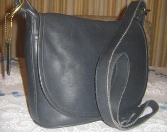 Vintage Coach No 4150 Navy Blue Leather Shoulderbag/ FREE Handbag Dust Cover Included/