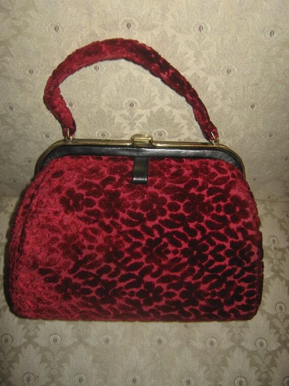 Rare Vintage Jana Handbag Christmas Red Velvet 1950s Tapestry
