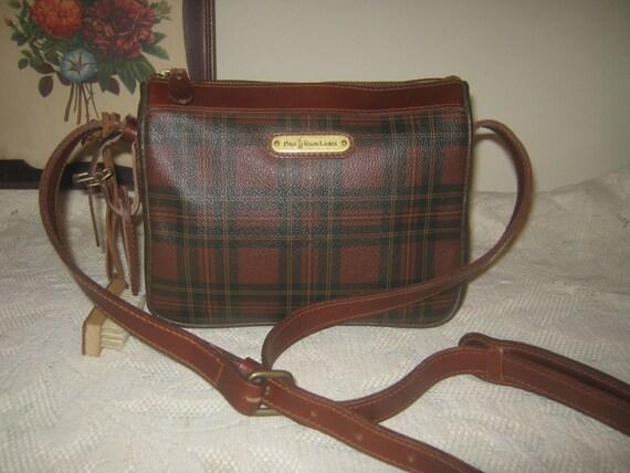 Vintage Polo Red Tartan Checked Plaid Shoulderbag /Leather Trim Preppy Crossbody Stylish