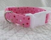 Pink Polka Dot  Dog Collar or Cat Breakaway Collar Custom Made Your Choice
