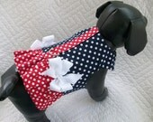 Polka Dot  Ruffled Dog  Harness Vest  with double Bows for Dog or Cat