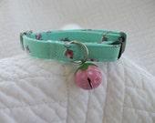 Pink Strawberry  Cat  Collar Breakaway Collar Custom Made