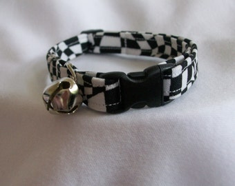 Ready to Ship Black & White Checkered Racing Cat Breakaway Collar Custom Made for you