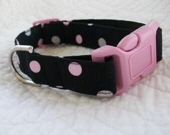 Polka Dot  Dog Collar Custom Made Your Choice Black or Pink Buckle